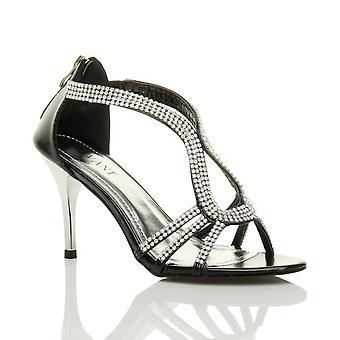 Ajvani женские высокие каблуки strappy шарнира Диаманте свадебный вечер сандалии