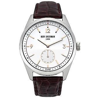 Ben Sherman Mens Gents Wrist Watch Canaby Driver zwart riem gezicht WB052BGR