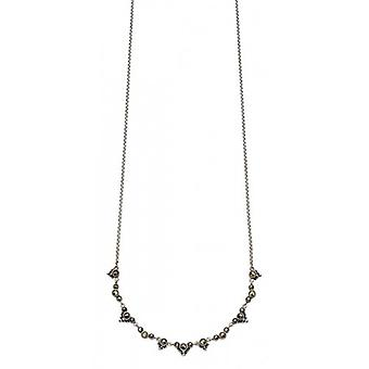 Elements Silver Marcasite Dainty Necklace - Silver/Black