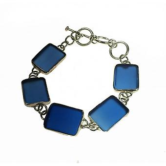 Cavendish French Silver and Blue Sea Glass Bracelet