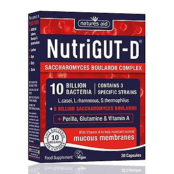 Natures Aid, NutriGUT-D (10 Billion Bacteria) + Boulardii 30capsules