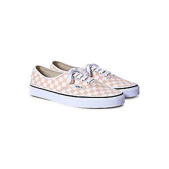 Vans Authentic Canvas Plimsolls Orange & White Checks