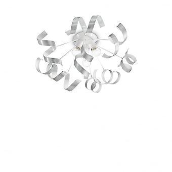 Ideal Lux Vortex Semi Flush Ceiling Chandelier Ribbon Light, Silver & White