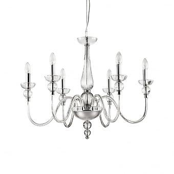 Ideal Lux Doge Traditional Clear 6 Arm Ceiling Pendant Light