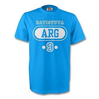 Gabriel Batistuta Argentina Arg T-shirt (sky Blue)