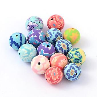 Packet 10 x Mixed Polymer Clay 14mm Plain Round Beads HA24035