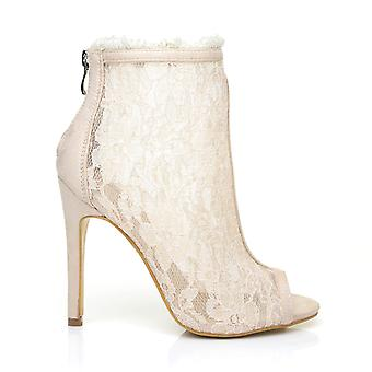 HELEN Nude Faux Suede Lace Peep Toe Stiletto High Heel Ankle Boot