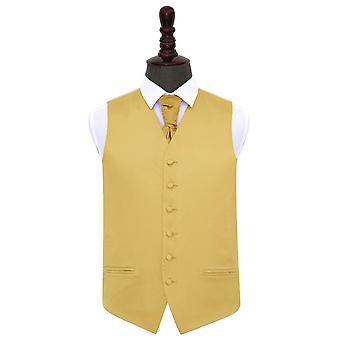 Gold Plain Satin Wedding Waistcoat & Cravat Set