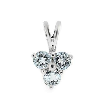 9ct White Gold 0.39ct Blue Topaz & Diamond Classic Cluster Pendant