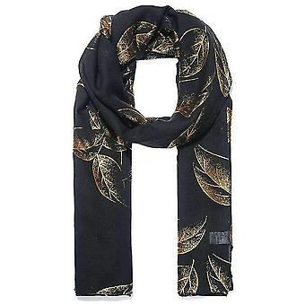 Intrigue Leafy Metallic Print Scarf - Black