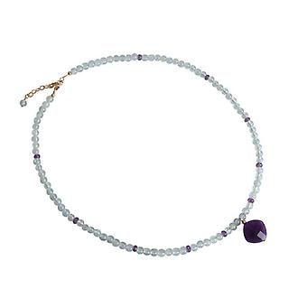 Aquamarine and Amethyst necklace gemstones gold plated chain lock