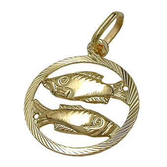 Or pendentifs zodiaque poisson 375 zodiaque, poisson, 9 KT GOLD