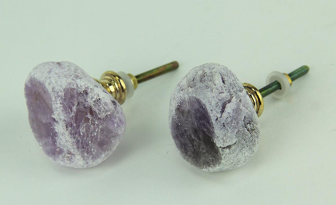 Amethyst Quartz Natural Crystal Cabinet Knob or Drawer Pull Set of 2
