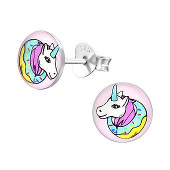 Unicorn - 925 Sterling Silver Colourful Ear Studs - W31957x