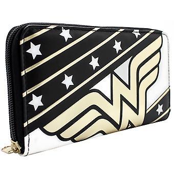 DC Wonder Woman Stars & Stripes Zip Around Coin ID Clutch Purse