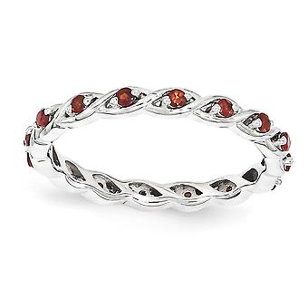 2.5mm 925 Sterling Silver Polished Prong set Rhodium-plated Stackable Expressions Garnet Ring - Ring Size: 5 to 10