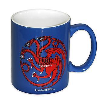 Spel van tronen Cup Targaryen (buitenste) blauwe & wit (binnenkant), keramiek.