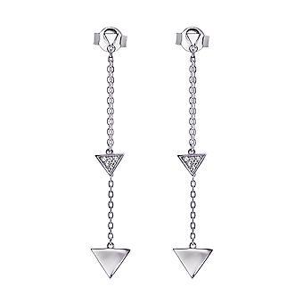 Sterling zilveren driehoek Drop Oorbellen met 1.0 mm ronde Moissanite