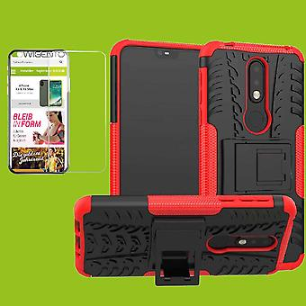 For Nokia 7.1 5.84 inches 2018 hybrid case 2 piece red + tempered glass bag case cover sleeve new