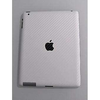 Carbon Fiber skin iPad 2, 3, 4 works with Smart Cover (White)