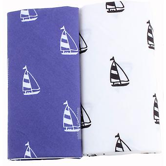 David Van Hagen nieuwigheid jacht zakdoek Set - wit/blauw