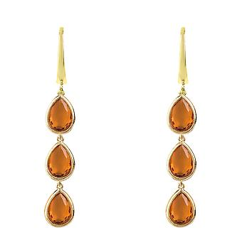 Latelita Earrings Gold Dangle Drop Multi Gemstone Yellow Citrine Jewelry Orange