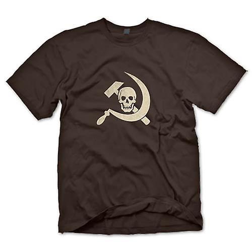 Mens t-shirt-martello russo & falce con teschio