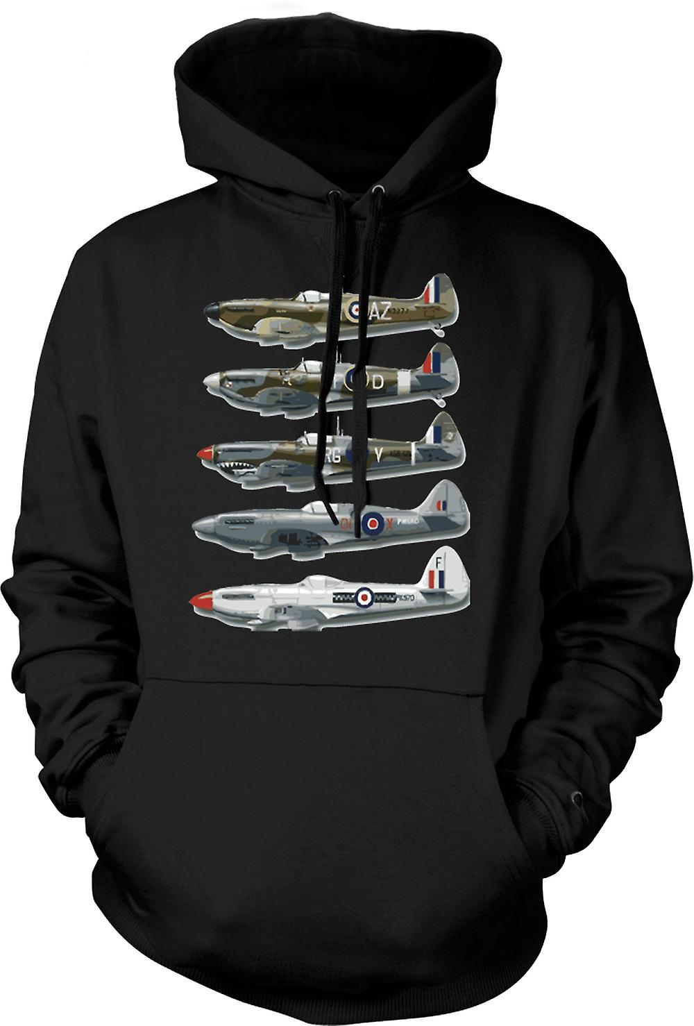 Mens hettegenser - 5 Spitfire Collage - tilbud