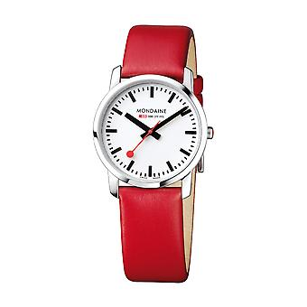 Mondaine Simply Elegant Red Leather Strap Ladies' Watch A400.30351.11SBC 36mm