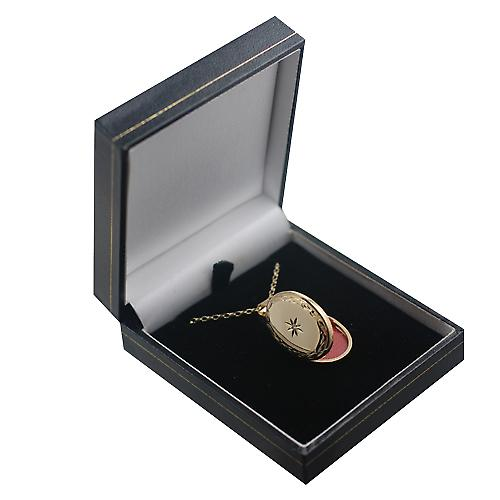 9ct Gold 27x20mm diamond set hand engraved edge oval Locket with a belcher Chain 16 inches Only Suitable for Children