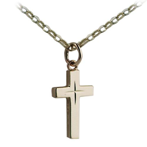 9ct Gold 17x10mm diamond cut star solid block Cross with belcher Chain 16 inches Only Suitable for Children