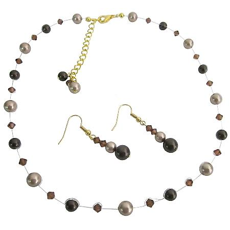 Elegant Bridal Jewelry Combo Brown & Bronze Pearls Set