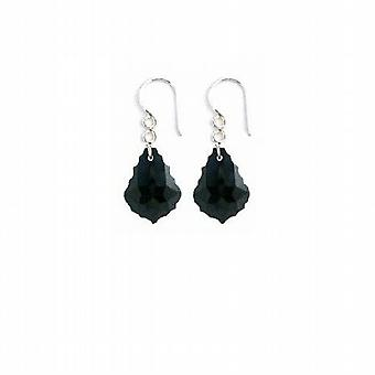 Baroque Crystal Sterling 92.5 Black Jet Crystals Earrings