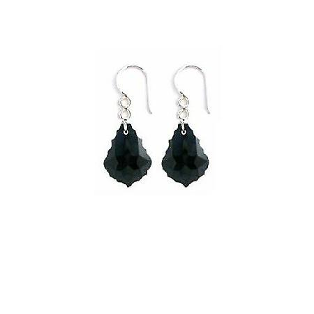 Baroque Crystal Sterling 92.5 Black Jet Crystals Earrings