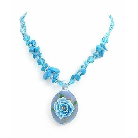 Flower Painted Glass Pendant Prom Jewelry Turquoise Nugget Necklace