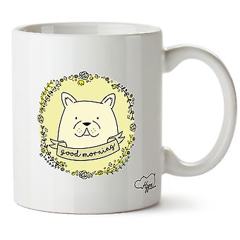 Hippowarehouse god morgon Frenchie tryckt mugg kopp keramik 10oz