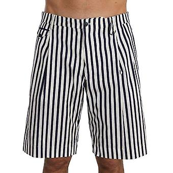 Dolce & Gabbana Blue White Striped Cotton Shorts -- PAN6024944