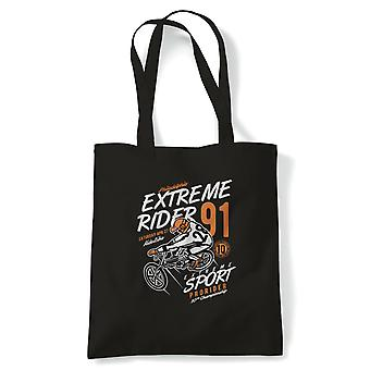 Extreme Rider 91 | FunnyTote Bag |Looking Good Old Handsome Biker Classic Racer Race Confidence Bicycle | Multiple Colours Available