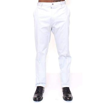 Dolce & Gabbana Light Blue Regular Fit Logo Dress Pants -- MOM1931717