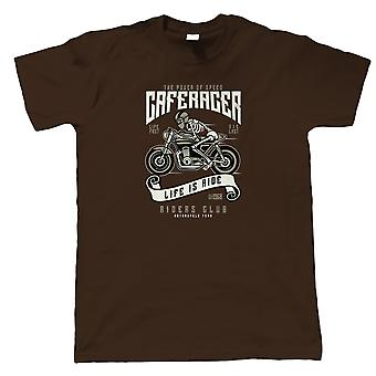 Speed Of Caferacer Mens T-Shirt   Timeless Retro Vintage Iconic Seminal Memorable    Motorbike Scooter Street Cafe Racer Rider Sidecar    Motorbikes Gift Him Dad