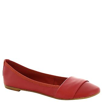 Leonardo Shoes Woman's handmade ballerinas in red leather whit band