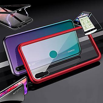 For Huawei Y7 Pro 2019 magnet / metal / glass Pouch Case Red-transparent + 0.26 mm H9 hard glass