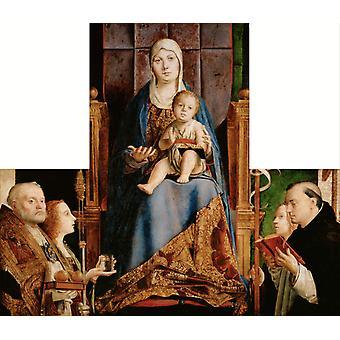 Madonna med SS Nicholas av Bari, Antonello da Messina, 50x43cm
