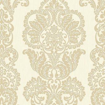 Cream Gold Glitter Damask Wallpaper Shimmer Textured Vinyl Fine Decor