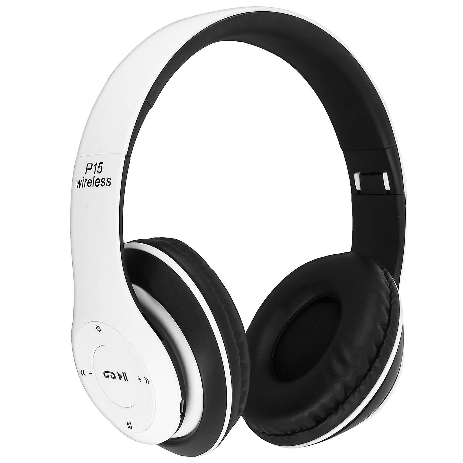 Casque audio bleutooth sans fil 4.0 Jack 3.5 mm micro-SD radio FM blanc