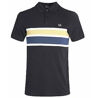 Fred Perry menns Stripe panelet Pique kort Shirt Polo M2588-608