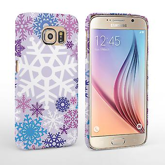 Caseflex Samsung Galaxy S6 Winter Christmas Snowflake Hard Case - Purple and Blue