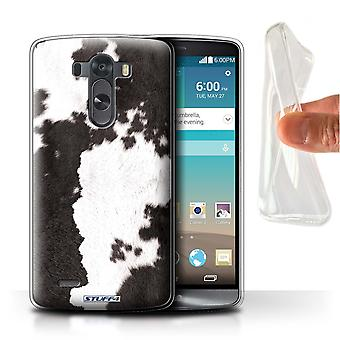 STUFF4 Gel TPU Phone Case / Cover for LG G3/D850/D855 / Cow/Black Design / Animal Fur Effect/Pattern Collection