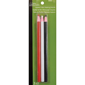 Dritz Longarm Quilter's Film Marking Pencils 3 Pkg One Each Of Red, White & Black 3723