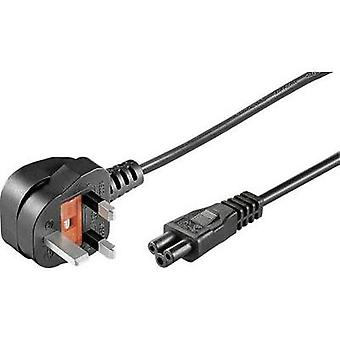 Laptop Mains cable [ UK plug, pointed - C5 Mickey Mouse connector] Black 1.80 m Goobay 96046